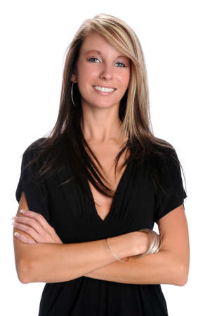 Beautiful businesswoman smiling with arms crossed isolated over white photo
