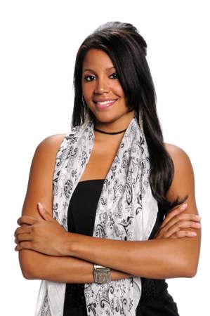 African American vrouw met armen overgestoken geïsoleerde witte achtergrond Stockfoto