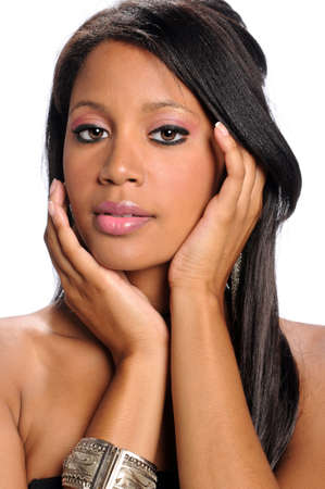 Portrait of beautiful African American womna with hands on face Stock Photo - 7903715