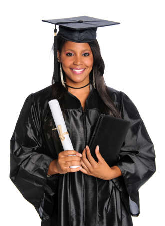 academic robe: African American graduate holding diploma isolated over white