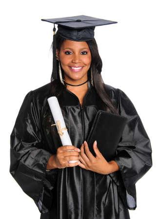 toga y birrete: Estados Unido graduado titulares de diploma aislado sobre blanco