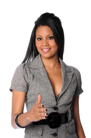 extending: African American woman extending hand to shake