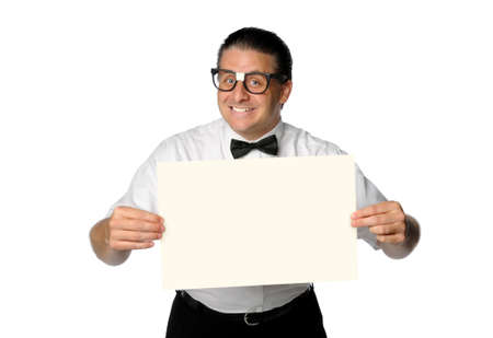 Nerd smiling and holding blank sign isolated over white Stock Photo - 7903660