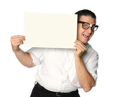 dork: Nerd Holding blank sign isolated over white background