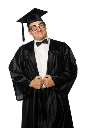 Nerd graduate dressed in gown and mortarboard Stock Photo