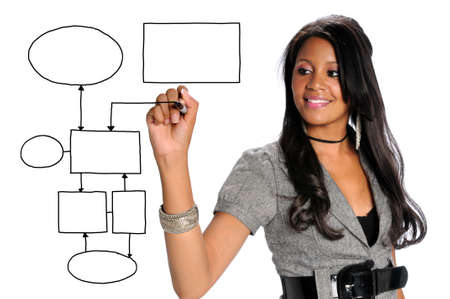 African American businesswoman drawing chart on transparent glass