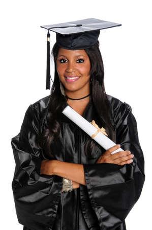visage femme africaine: Jeune dipl�m� afro-am�ricains v�tus de robe et mortier