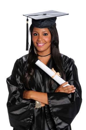 Young African American graduate dressed in gown and mortarboard