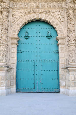 View of wood doors at the Cathedral of Cajamarca, Peru photo