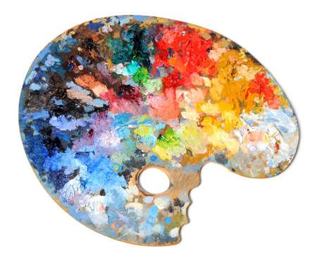paleta de pintor: Paleta de artista con diferentes colores aislados sobre fondo blanco