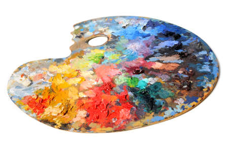 paints: Artist palette isolated over white background