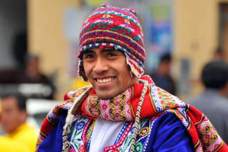 cusco: CUSCO PERU - SEPTEMBER 5: Portrait of Quechua man dressed in traditional clothing, Cusco, Peru on September 5, 2009 Editorial