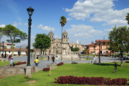CAJAMARCA PERU - SEPTEMBER 9: The Plaza de Armas in Cajamarca in Northern Peru, on September 9, 2009 Editorial