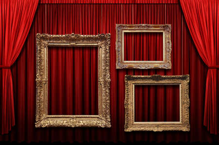 Red stage curtain with gold frames Фото со стока