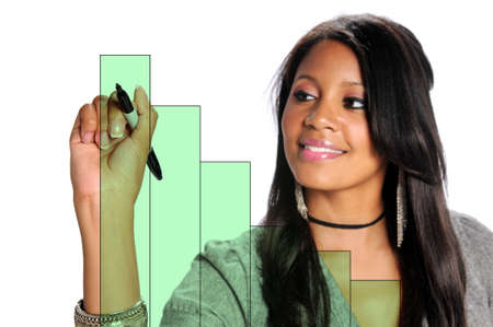 performance improvement: African American businesswoman drawing on chart isolated over white - Selected focus on hand