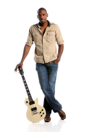 African American musician standing with electric guitar isolated over white background Stock Photo