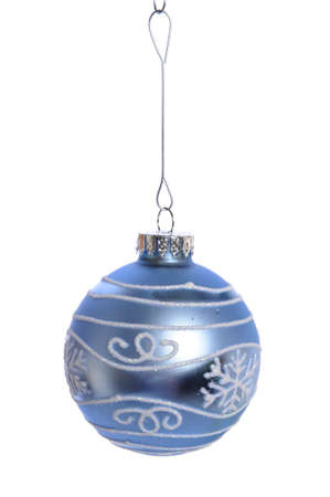 Blue Christmas ornament isolated over white background Stock Photo - 7972537