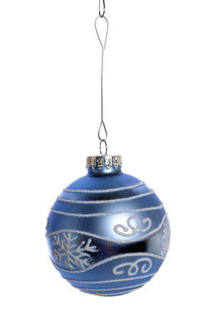 Blue Christmas ornament isolated over white Stock Photo - 7972538