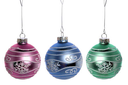 Three Christmas ornaments isolated over white background Stock Photo - 7972550