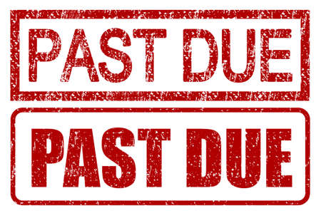 Past due stamps with grunge style isolated over white photo