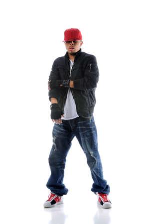 rapper: Bailar�n de rap estadounidense sobre fondo blanco