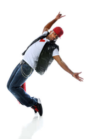 African American hip hop dancer isolated over white background Stock Photo - 7956170