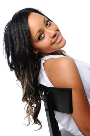 Beautiful African American womna smiling Stock Photo - 7956278