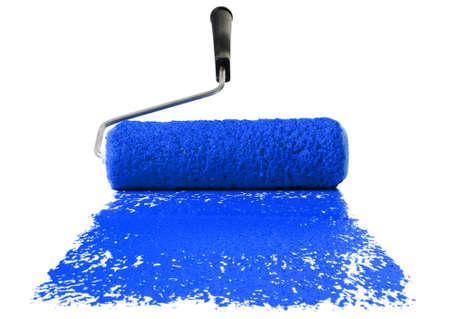 白い背景で隔離された青い絵の具でペイント ローラー