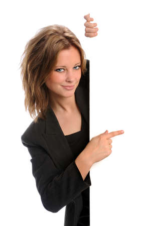 exhibiting: Businesswoman pointing to blank sign isolated over white background