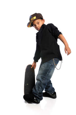 skater boy: Young African American skateboarder isolated over white background Stock Photo