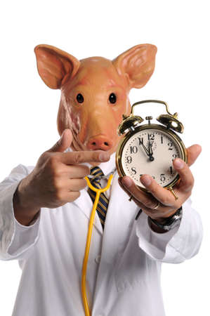 Swine flu concept - Doctor with pig head pointing at alarm clock photo