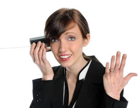 Businesswoman using tin can phone isolated over white background photo