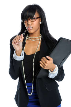 African American businesswoman with pen and folder isolated over white background Stok Fotoğraf
