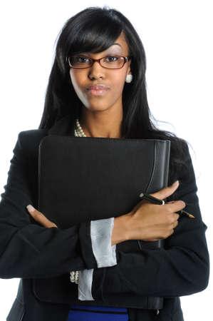 secretaria sexy: Empresaria estadounidense con gafas, celebraci�n de cuaderno  Foto de archivo