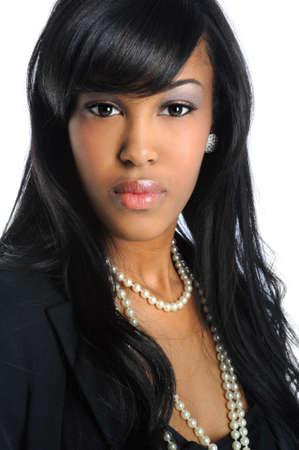 Porträt von schönen Afroamerikaner geschäftsfrau isolated over white background Standard-Bild - 7956290