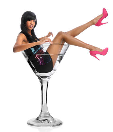 African American woman in martini glass isolated over white background