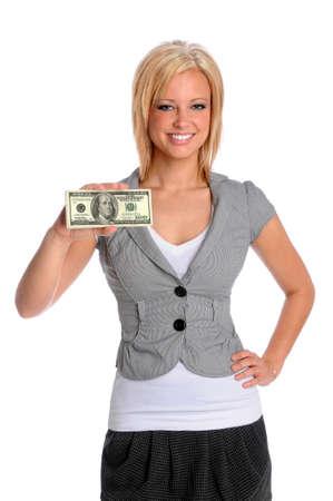 Beautiful businesswoman holding stack on money isolated over white background photo