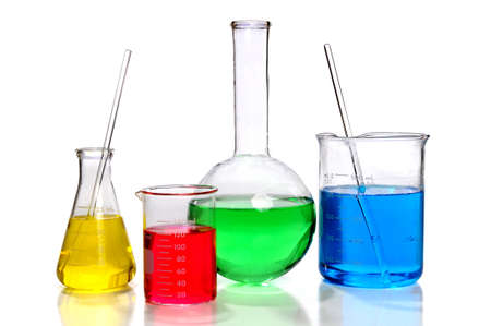 Laboratory glassware with Flasks and  beaker over white background Stock Photo