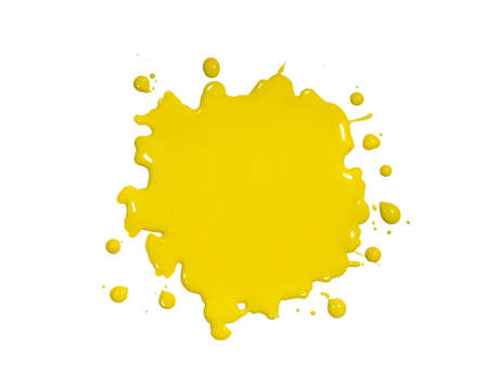 dripping paint: Yellow paint splatter isolated over white background
