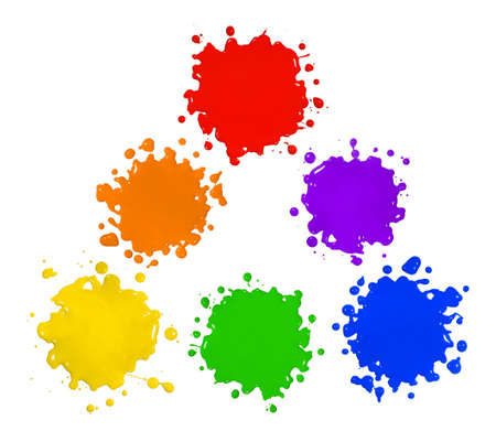 messy paint: Primary and secondary colors in paint splatter isolated over white background