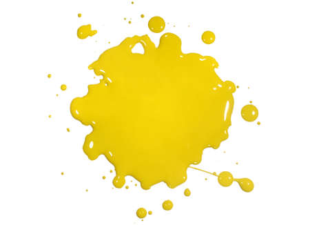 Yellow paint splatter isolated over white background Stock Photo