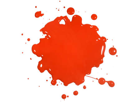 Red paint splatter isolated over white background