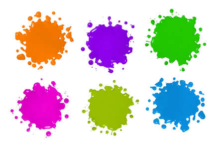 splats: Various color paint splatters isolated over white background