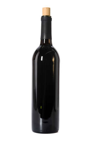 Open bottle of red wine isolated over white background