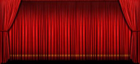 cortinas rojas: Cortina de la gran etapa de rojo con luz y sombra
