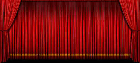 Large red stage curtain with light and shadow Stock Photo