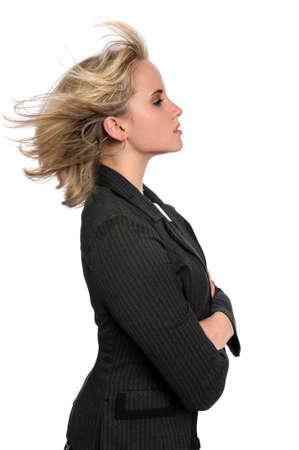 perfil de mujer rostro: Perfil de hermosa Empresaria con pelo soplando  Foto de archivo