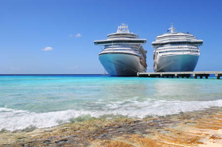 a big ship: Cruise ships docked in Caicos Island, West British Indies Stock Photo