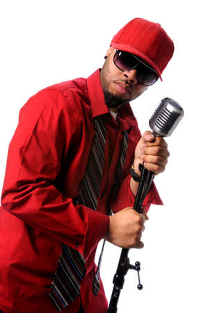 African American singer with vintage microphone photo