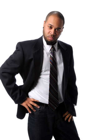 Young African American businessman with hands on hips isolated over white background photo